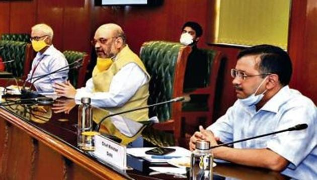 Shah held a meeting with Delhi chief minister Arvind Kejriwal and senior officials of the Haryana and Uttar Pradesh governments to review the Covid-19 situation in Delhi-NCR amid a surge in the number of cases of the infectious disease.(PIB)