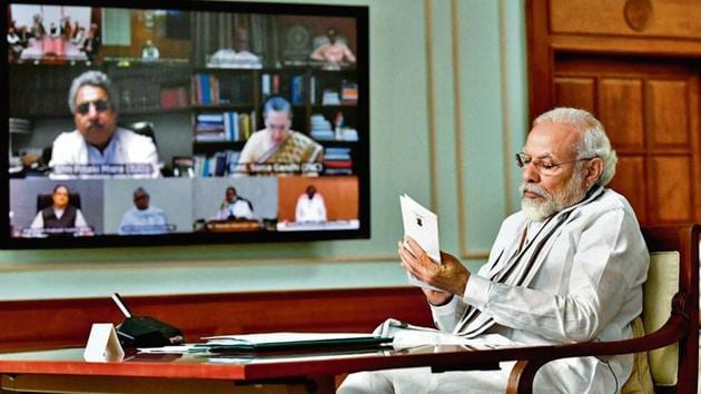 PM Modi during the all-party meet to discuss the faceoff in Galwan Valley between Indian and Chinese army personnel(PTI)