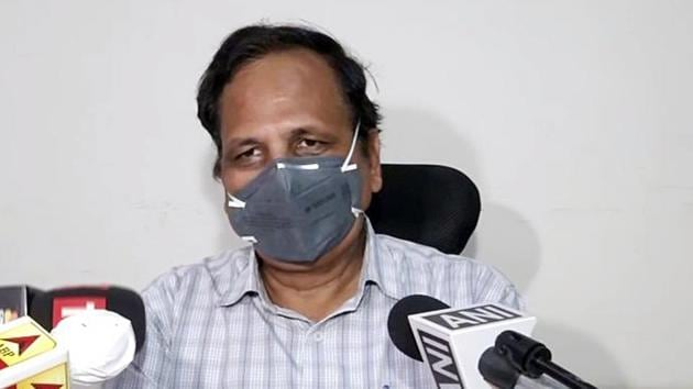 Delhi health minister Satyendar Jain was admitted to the Delhi government-run Rajiv Gandhi Super Speciality Hospital in Tahirpur on Monday night after he was found to be suffering from a high fever and low oxygen saturation.(ANI file photo)