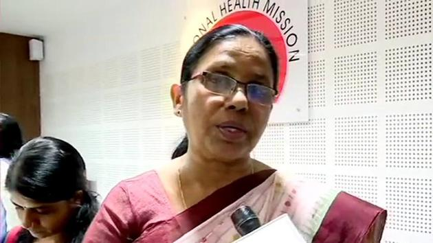 Kerala's health minister KK Shailaja is seen speaking to reporters in this file photo. Kerala's fresh cases of the coronavirus disease Covid-19 infections crossed the 10,000 mark for the first time on October 7 and it reported 9,250 cases on Friday.(ANI Photo)