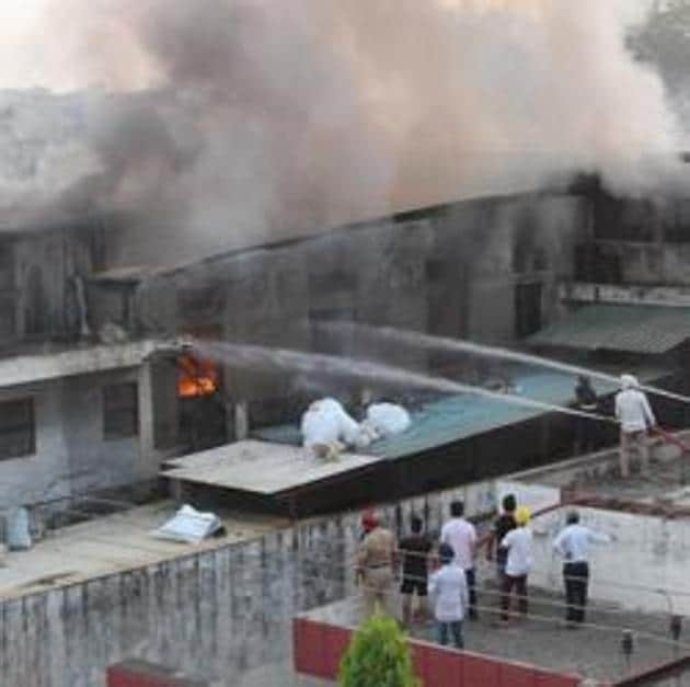 Firefighters trying to douse the fire which broke out in a plastic factory at Industrial Area, Phase-9, in Mohali on Saturday, June 20.(Gurminder Singh/HT)