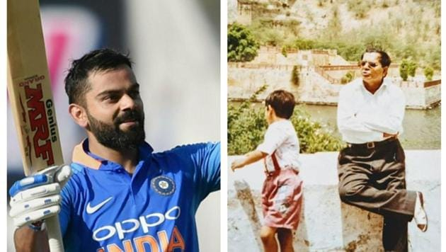 Virat Kohli writes a note on father's day.(HT Collage)