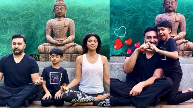 Shilpa Shetty has shared a video on the occasion of International Yoga Day, which coincided with Father's Day on Sunday.