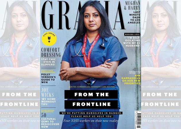 British Grazia paid homage to the National Health System (NHS) in it's April 2020 issue, with split covers featuring real-life NHS workers