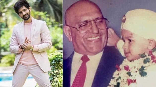 Vardhan Puri with his grandfather Amrish Puri as a child.