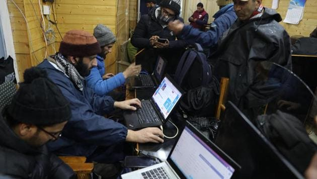 When Majid Lone, an undergraduate student of Islamia College of Science and Commerce (ICSC) in Srinagar woke up on Sunday, he found there was no internet service on his mobile as an encounter had started in Zadibal area of the city. (Image used for representation).(HT PHOTO.)