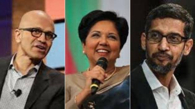 Pichai came to the US F-1 visa for students. Satya Nadella used the visa programme also, but for an entirely different reason. Indra Nooyi, who was raised in Chennai and went to the Madras Christian College, went on H-1B visa when she joined the Boston Consulting Group in 1980(HT Photo)