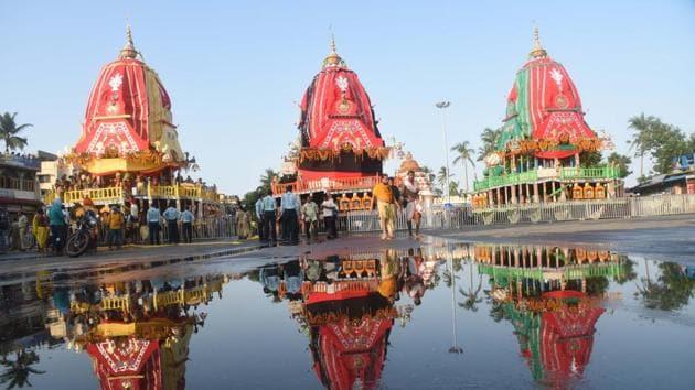 The chariots of the Hindu deities Balabhadra, Subhadra and Jagannath at the Gundicha temple during the annual Rath Yatra festival, in Puri, Odisha on Tuesday.(Arabinda Mohapatra/HT PHOTO)