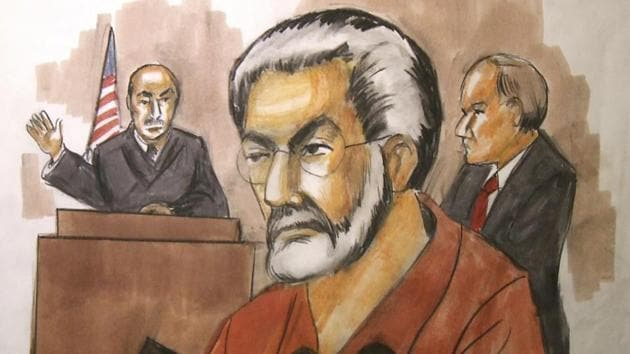 Courtroom artist's drawing of businessman Tahawwur Rana in court. Rana, a Pakistani-born Canadian, was convicted of a crime related to 2008 Mumbai terror attack.(AP File Photo)