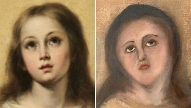 The restoration(R) of the copy of the painting of Virgin Mary by Baroque artist Bartolomé Esteban Murillo (L).(Twitter)