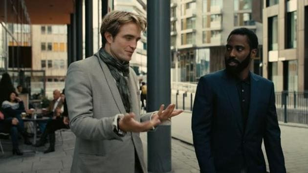 Robert Pattinson and John David Washington in a still from Tenet.