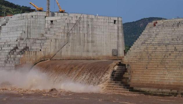 Water flows through Ethiopia's Grand Renaissance Dam as it undergoes construction work on the river Nile in Guba Woreda, Benishangul Gumuz Region, Ethiopia.(REUTERS)