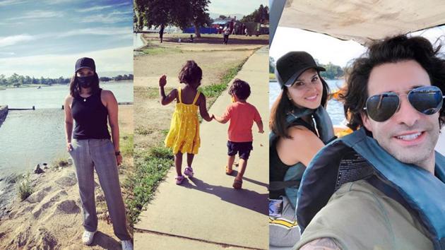 Sunny Leone visits Lake Balboa with her family.