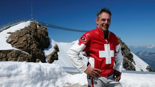 Swiss acrobat Freddy Nock poses for a picture after performing during the Airshow, marking the reopening of facilities after the coronavirus disease (COVID-19) lockdown in Les Diablerets, Switzerland, June 23, 2020. (REUTERS/Denis Balibouse)