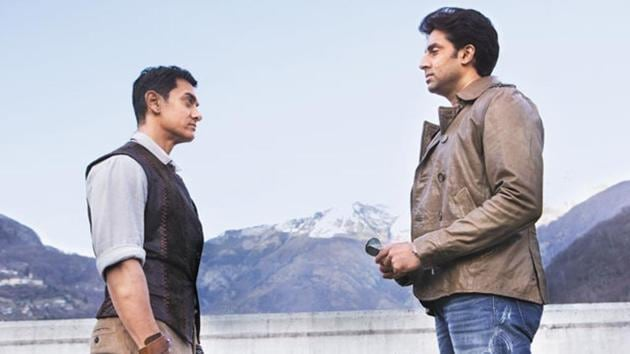 Aamir Khan and Abhishek Bachchan in a still from Dhoom 3.
