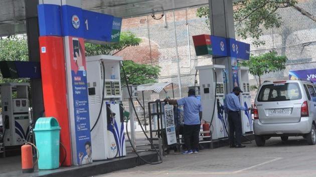 Petrol pump at Sector 22 in Chandigarh on Thursday, 25 June 2020.(Keshav Singh/HT Photo)