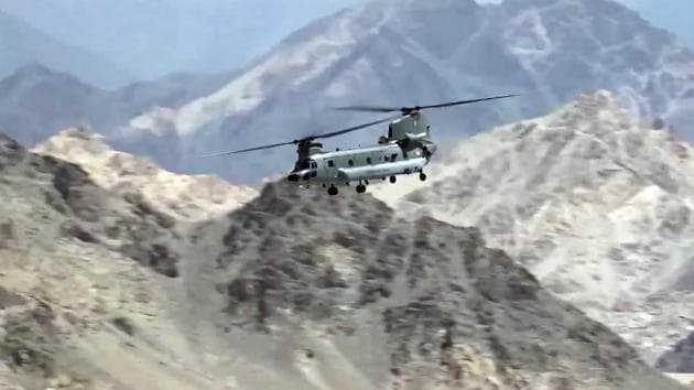 Indian Air Force aircraft carrying out sorties in Leh on Friday. The air activity has gone up in the region after the stand-off with China on the Line of Actual Control (LAC) there.(ANI)