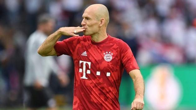 Bayern Munich's Arjen Robben during the warm up.(REUTERS)