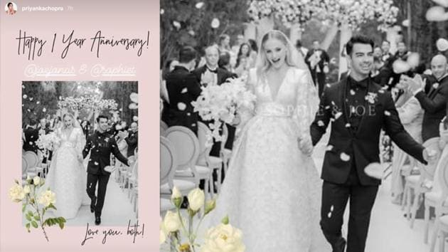 Priyanka Chopra has shared a sweet wish for Jonas Jonas and Sophie Turner on their first wedding anniversary.
