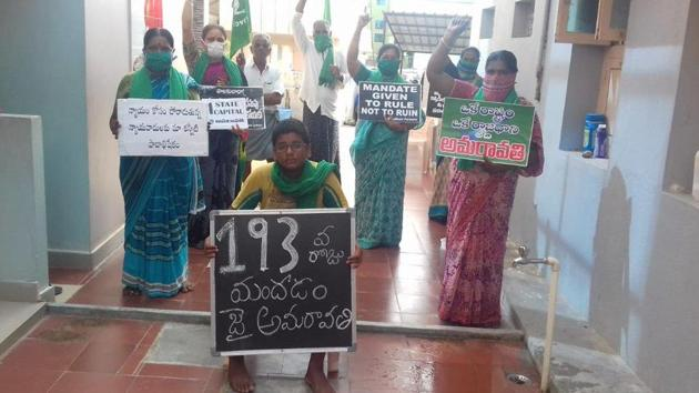 More than 24,000 farmers of Amaravati capital region have been on the warpath ever since the YSR Congress Party government in the state, led by YS Jagan Mohan Reddy, announced on December 17 last year about creating three capitals. (HT photo)