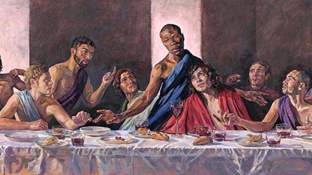 Painted by Lorna May Wadsworth and dubbed A Last Supper, casts Jamaican-born model Tafari Hinds as the son of God.(@enjoy_st_albans/Instagram)