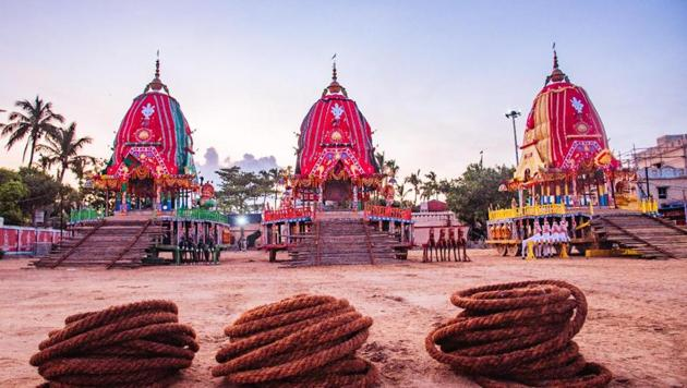 The chariots of Lord Jagnnath, Lord Balabhadra and Goddess Subhadra at the Gundicha temple before staring the journey back to the Jagannath temple in Puri(HT PHOTO)