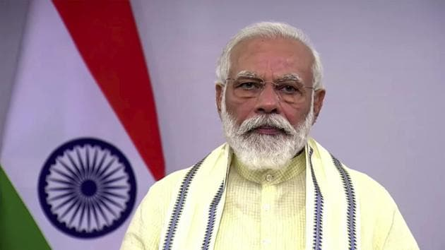 In this June 30, 2020, frame grab from video, Indian Prime Minister Narendra Modi speaks during a televised address to the nation in New Delhi, India.(AP)