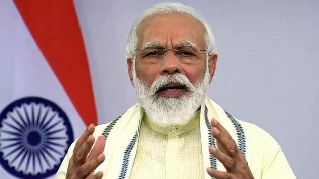Prime Minister Narendra Modi addresses the nation, in New Delhi on Tuesday(ANI)