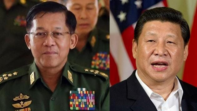 Myanmar's Senior General Min Aung Hlaing spoke about 'strong forces' that are backing terror outfits in his country, a reference to China(Agencies)