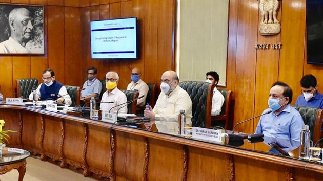 A meeting was held by Union home minister Amit Shah to review management of Covid-19 situation in NCR and discuss a unified strategy to tackle the pandemic, on July 2, 2020. co(PIB / Twitter)