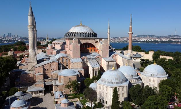 Hagia Sophia or Ayasofya, a UNESCO World Heritage Site, that was a Byzantine cathedral before being converted into a mosque which is currently a museum, is seen in Istanbul, Turkey, June 28, 2020.(REUTERS)