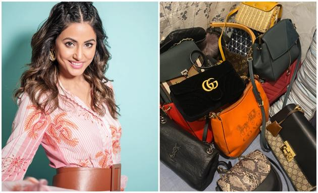 Hina Khan took to her Instagram stories to share a glimpse of her extensive collection of luxury bags.