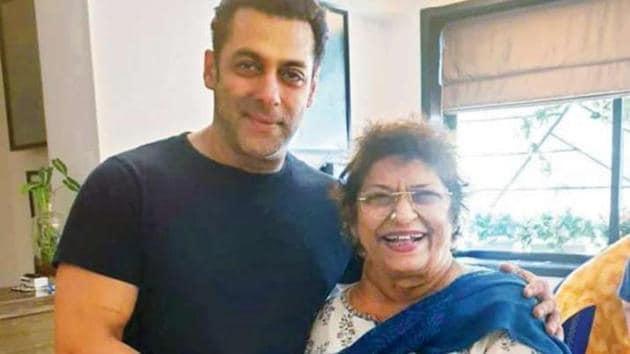 Salman Khan and Saroj Khan pose together.