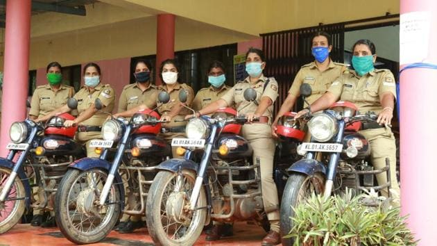 At least 40 women officers have been trained and 10 bullets are on the road in Thrissur carrying two persons each. (HT Photo)
