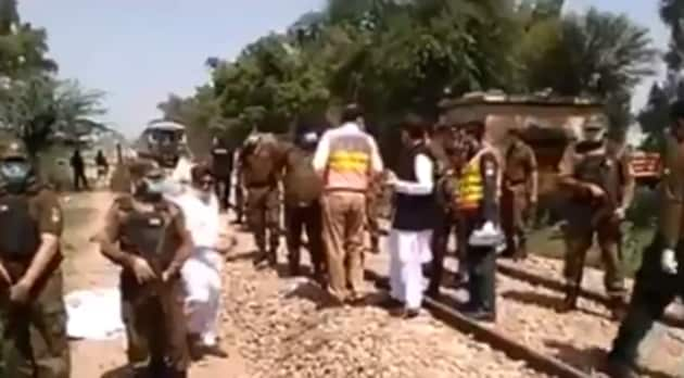 The bus carrying the pilgrims was hit at an unmanned railway crossing by the Karachi bound Shah Hussain Express.(ANI / Twitter)