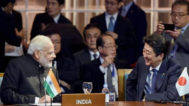 In this file pictures, Prime Minister Narendra Modi interacts with his Japanese counterpart Shinzo Abe. Japan has expressed their displeasure over China's bid to capture Indian territory in Ladakh.(PTI/AFP)