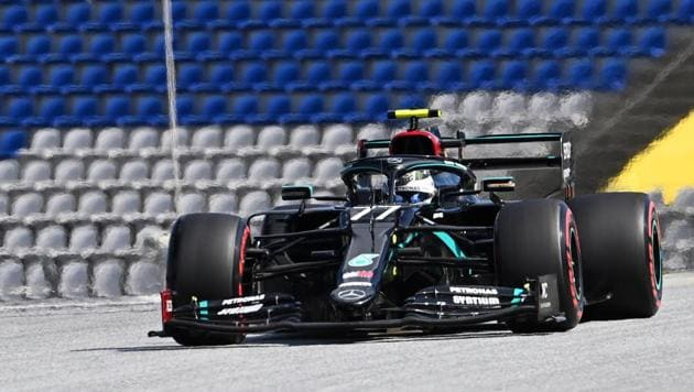 Mercedes' Valtteri Bottas in action during qualifying , as F1 resumes following the outbreak of the coronavirus disease.(REUTERS)