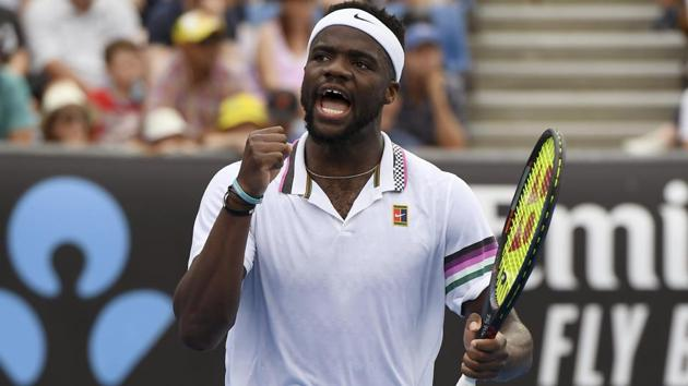 United States' Frances Tiafoe celebrates after winning the second set against Andreas Seppi of Italy.(AP)