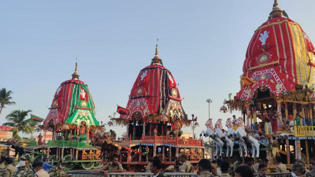 Considered as part and parcel of the social, religious and cultural ethos of the people of Odisha, the annual sojourn of Lord Jagannath and his siblings to the Gundicha Temple in their chariots is inconceivable without devotees.(HT Photo)
