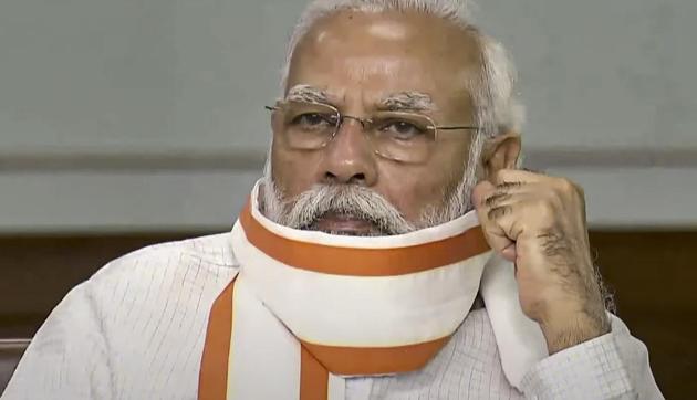 Prime Minister Narendra Modi during BJP's 'Seva Hi Sangathan Abhiyan' via video conferencing in New Delhi on Saturday.(PTI File Photo)