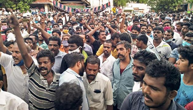 A protest in solidarity with the victims of alleged custodial torture in Sathankulam, Thoothukudi, June 28(PTI)