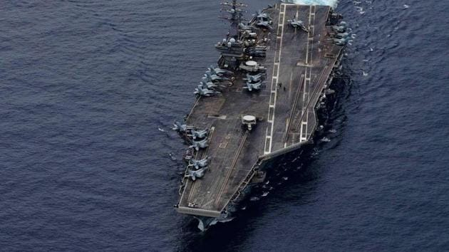 The USS Ronald Reagan in the South China Sea on July 4.(Twitter/@USPacificFleet)