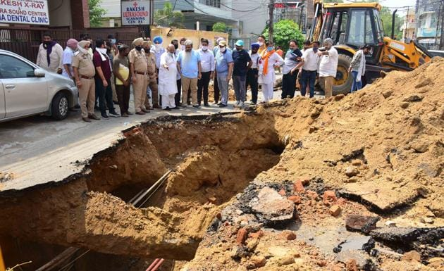 During monsoon, major road cave-in incidents are reported in the city(HT PHOTO)