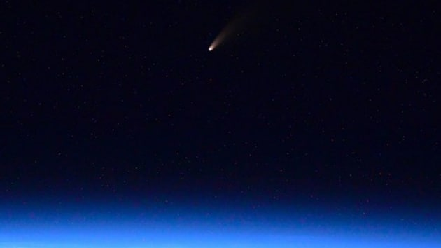 Russian cosmonaut Ivan Vagner shared this photo of Comet NEOWISE which he captured from International Space Station.(Photo Credit : Ivan Vagner / Twitter)