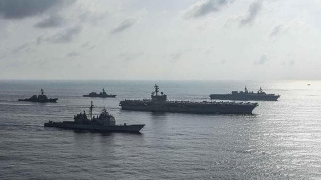 Military exercises with two carrier battle groups are rare. The last one held by the US in the South China Sea took place in 2014, and indicates a deliberate show of military power in waters claimed by Beijing.(Reuters file photo. Representative image)