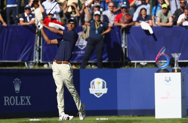 PARIS, FRANCE - SEPTEMBER 26: Akshay Bhatia of Team USA tees off during the Junior Ryder Cup GolfSixes ahead of the 2018 Ryder Cup at Le Golf National on September 26, 2018 in Paris, France.(Getty Images)