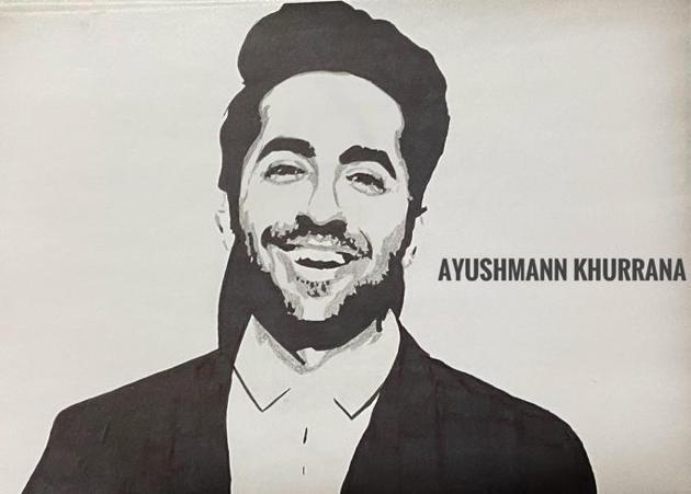Mayank's sketch of actor Ayushmann Khurrana.(HT PHOTO)