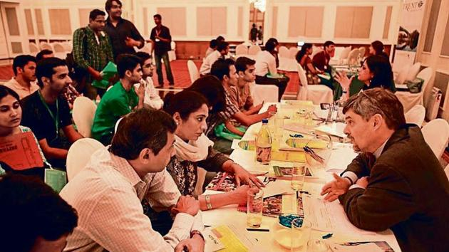 Students being counselled at a US education fair in Mumbai.