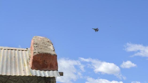 Leh: An IAF fighter jet flies in the sky, in Leh, Ladakh(PTI)
