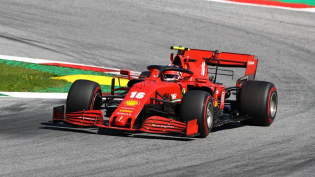 Ferrari's Charles Leclerc in action during the race.(REUTERS)